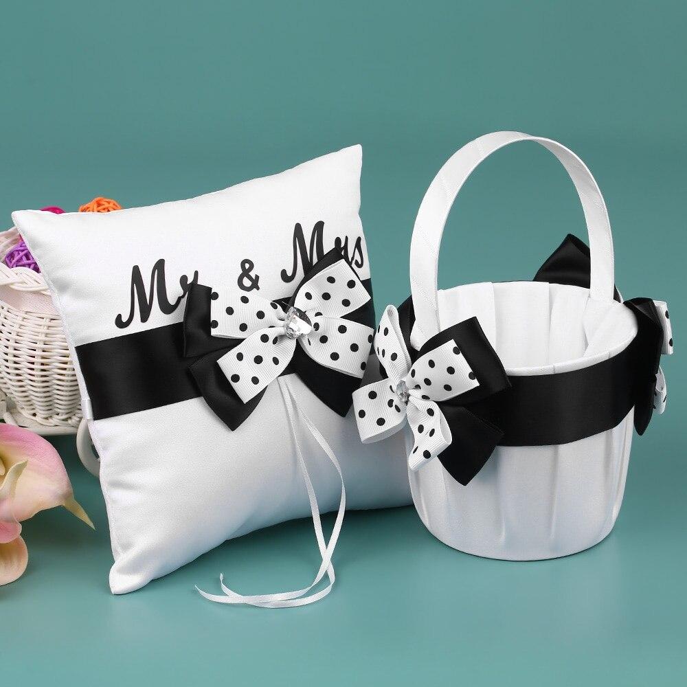 Fournitures de mariage 4 pièces/ensemble Satin fleur fille panier anneau porteur oreiller livre invité porte-stylo ensemble décor avec Bowknot blanc noir