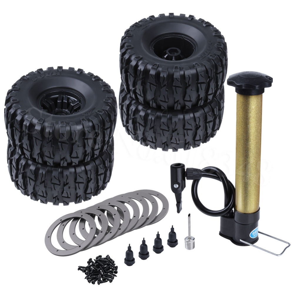 4PCS 135mm Air Filled Inflatable 2 2 Beadlock Wheel Rims Tires w Inflator Pump for 1