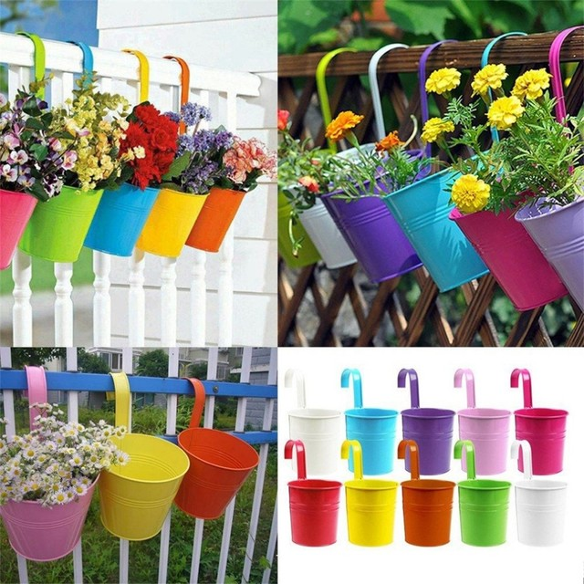 2018 Fashion Colorful Macetas Vertical Garden Planters Metal Flower Pots  Hang Bucket Hanging Wall Pot De