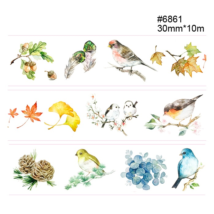 14 Design Birds/Flowers/Cloud/Crane Japanese Washi Tape Decorative Adhesive DIY Masking Paper Tape Gift Stickers