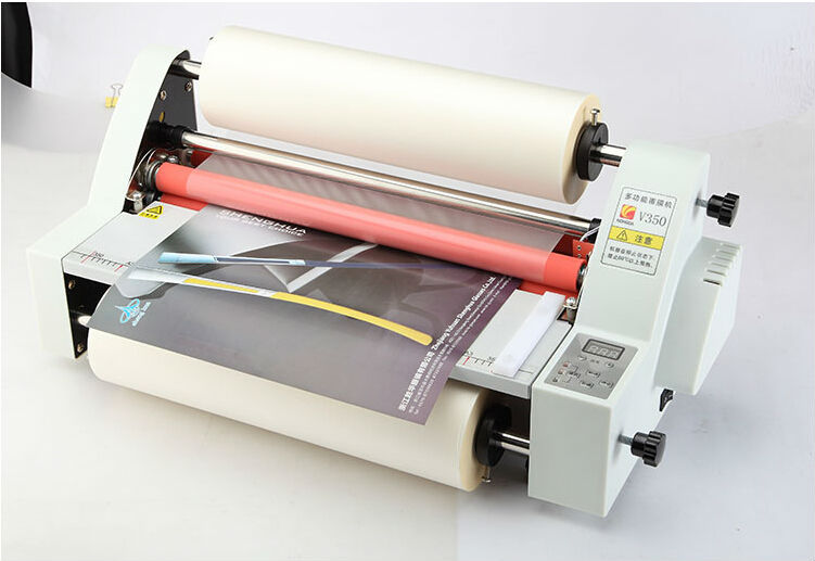 New 13 V350 Laminator Four Rollers Hot Roll Laminating Machine electronic temperature control single and sided a heating mode single sided blue ccs foam pad by presta