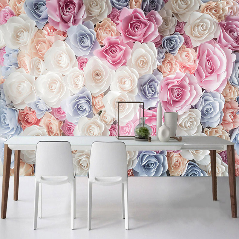 Custom Self-Adhesive Waterproof Canvas Mural Wallpaper Modern Rose Flowers Romantic Home Decor Wedding House Bedroom Wall Papers