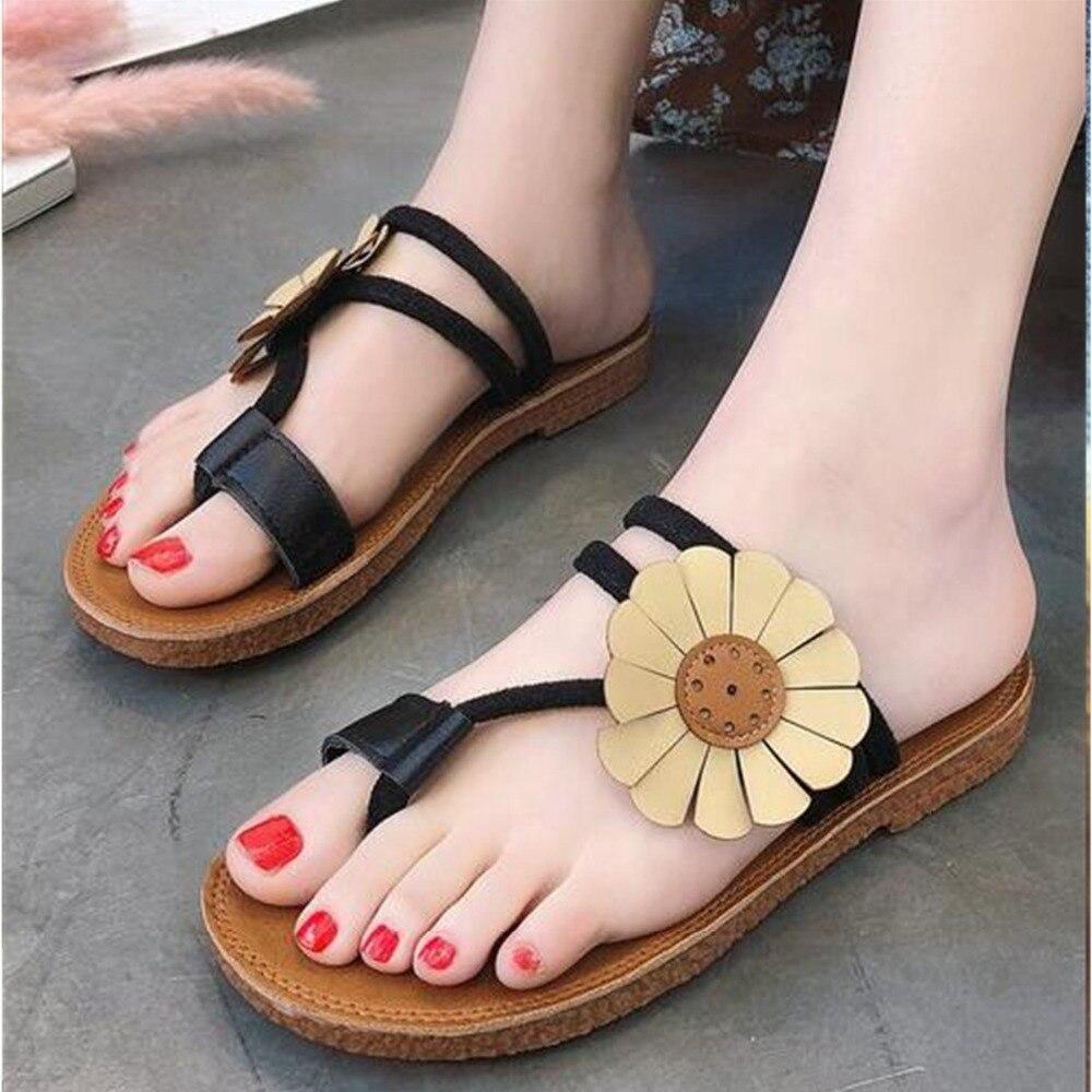 New 2018 European fashion concise women sandals hot sales big flower women shoes summer beach elegant ladies shoes sandals