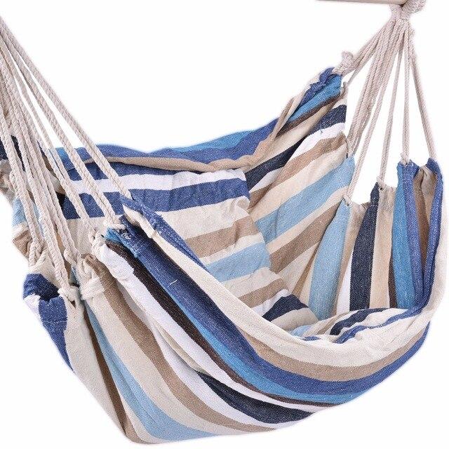 Goplus Garden Patio Porch Hanging Cotton Rope Swing Chair Seat Hammock Swinging Wood Outdoor Indoor Swing Seat Chair OP2996