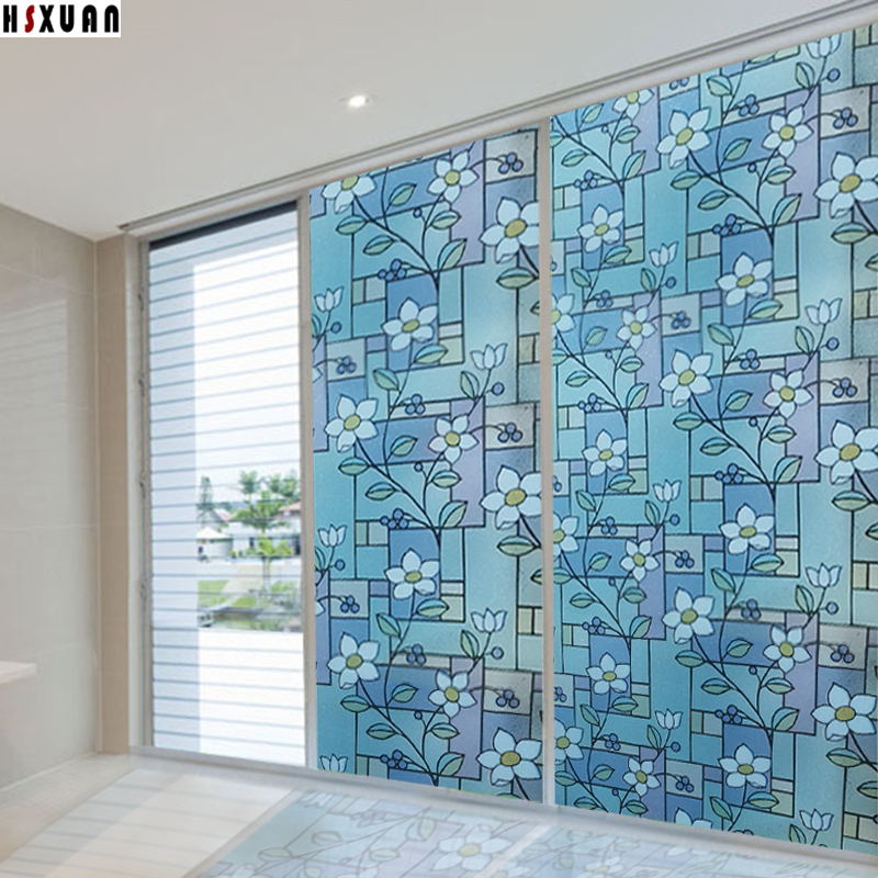 Flower Stained Window Frosted Film 90x100cm Self Adhesive Sliding Glass Door  Stickers Translucent Film Hsxuan