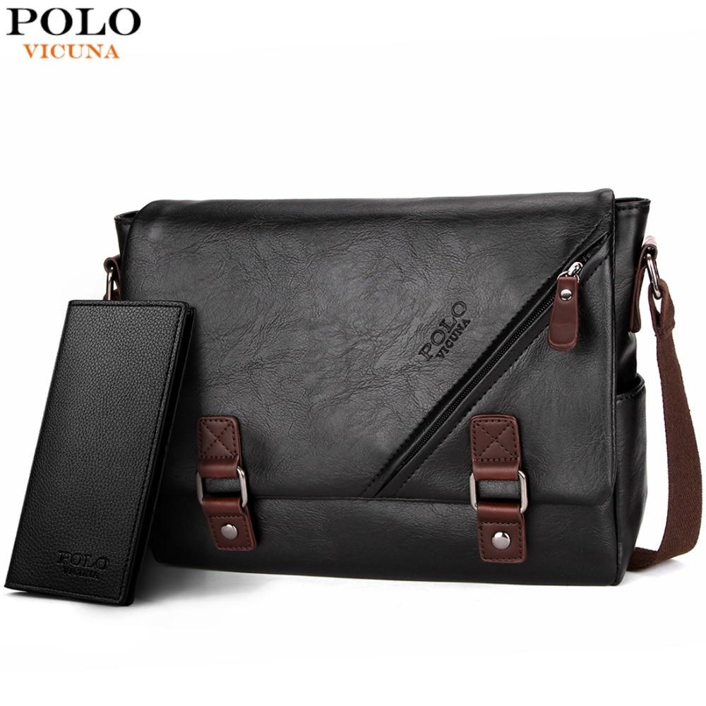 VICUNA POLO Promotional Men Messenger Bag Vintage Large Horizontal Black Satchel Bag With Double Belt Fashion Mens Handbag Hot