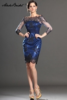 Gorgeous 3/4 Sleeve Knee Length Black Lace Blue Satin Mother of the Bride Dress Short Formal Women's Dress