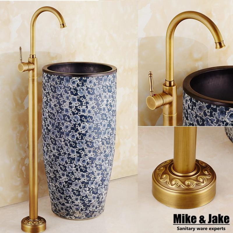Antique Floor Stand Basin Faucet Bathtub Stand Tap Shower Mixer Brass Shower Set Luxury Bathtub Stand Faucet