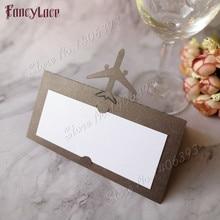 50pcs Laser Cut Air Plane Name Place Card Wedding Decor Party Table Decoration Chic Pearlescent Centerpieces Supplies