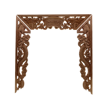 RUNBAZEF Chinese Dragon Buddha Decoration Carved Wood Carved Corner Applique Door Cabinet Furniture Figurines Wood Appliques
