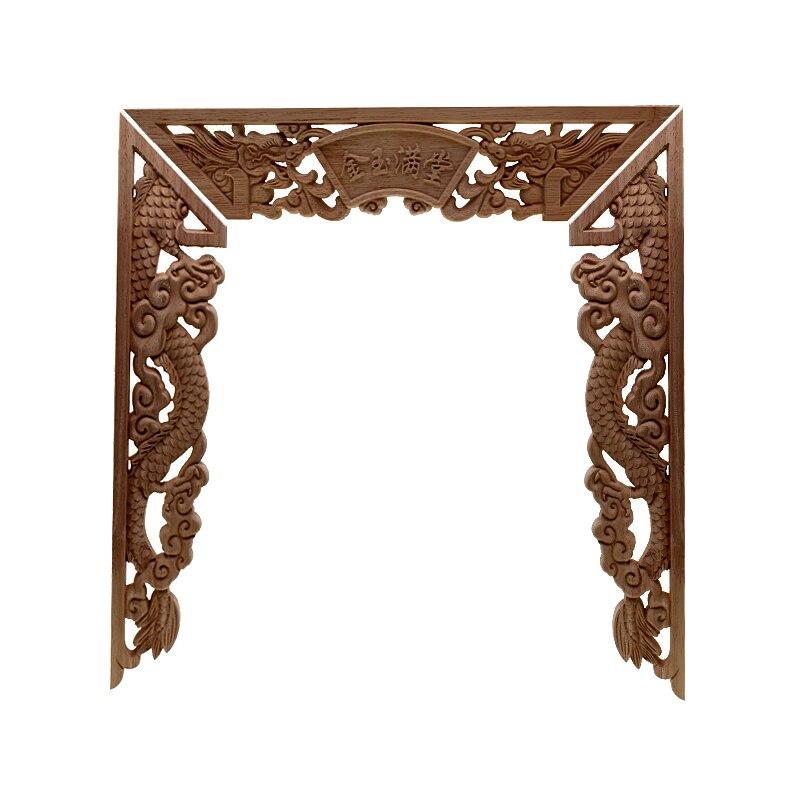 RUNBAZEF Dragon chinois bouddha décoration sculpté bois sculpté coin Applique porte armoire meubles Figurines bois Appliques