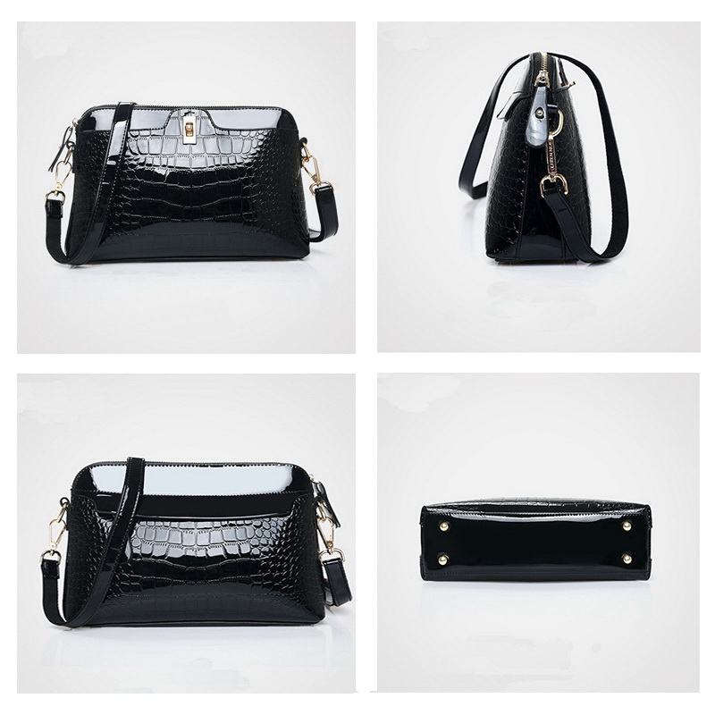 FUNMARDI Brand Women Bag Crocodile Designer Shoulder Bag Luxury Patent Leather Crossbody Bag For Ladies Small Shell Bag WLHB1975 in Shoulder Bags from Luggage Bags