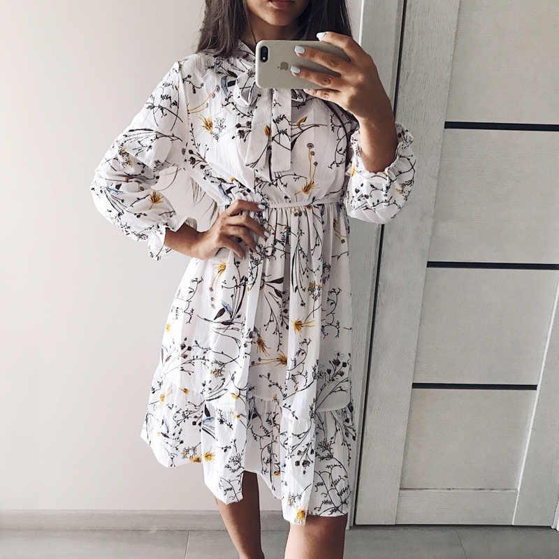 2020 秋の女性のドレス長袖シフォンシャツドレス a ラインミディ冬のドレス白の弓花 vestidos ヴィンテージ