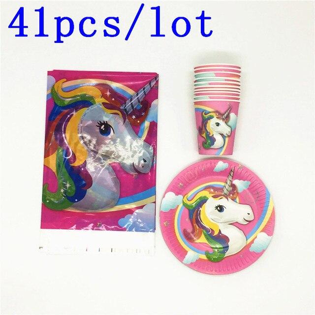 41PCS\lot Baby Shower Party Plates Cartoon Cup Unicorn Tablecloth Kids Favors Birthday Pikachu Napkins Decoration Supplies