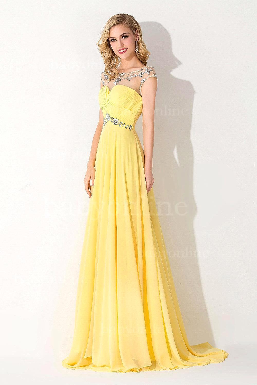 Vestidos de noche en amarillo