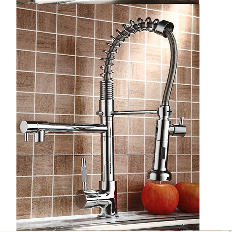 Hot Sale NEW Pull Our Spring Kitchen Faucet Chrome Brass Vessel Sink Mixer Tap Dual Sprayer Swivel Spout Hot And Cold Mixer Tap antique brass swivel spout dual cross handles kitchen