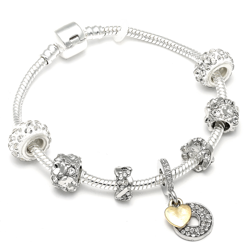 Trendy Diy Crystal Pandora Bracelet White Crystal Love Heart Dangle Charm beads For Women Girls Party Jewelry Gift