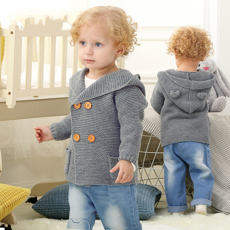 Baby Warm Sweaters Boy Girl Cardigan Newborn Boys Winter Cartoon Bear Ear Hooded Jackets Kids Casual Long Sleeve Knitted Clothes одежда на маленьких мальчиков