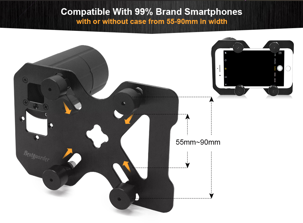Hunting shoot scope mount adapter phone smart mounting system for