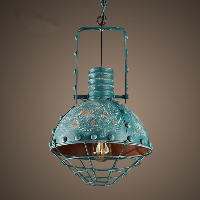 Vintage Loft Wrought Iron Green Pendant Light Retro Industrial - Hanging counter lights