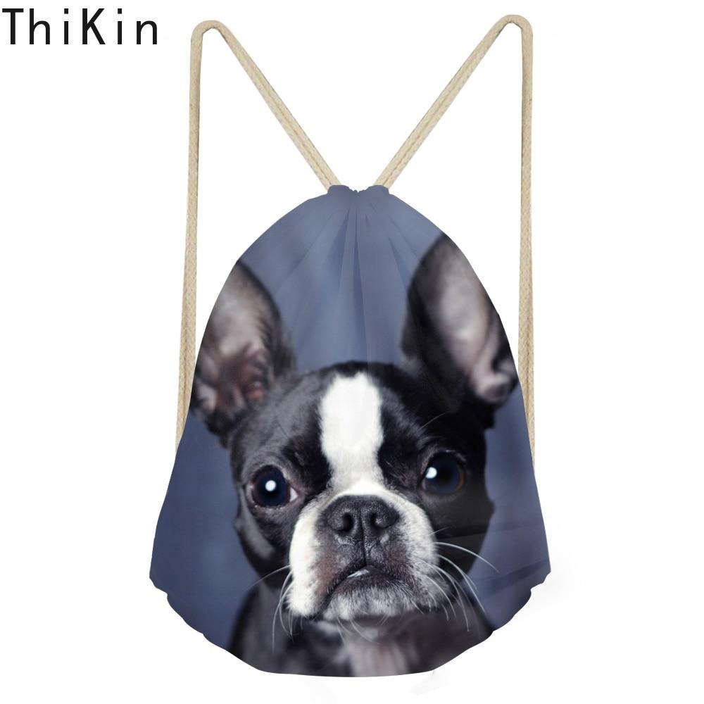THIKIN Cute 3D Animal Boston Terrier Printed Drawstrings Bags Women Softback Teenagers Travel Backpack Multifunction Storage Bag