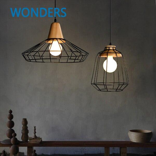 Skrivo diseño moderno de madera y hierro pendiente lámparas luces ...