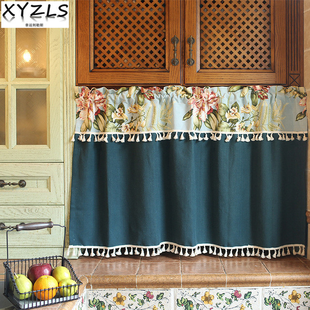 XYZLS Euro Modern Floral Kitchen Curtains With Tassels Cafe Curtain Short  Panel Door Curtain Cupboard Screen