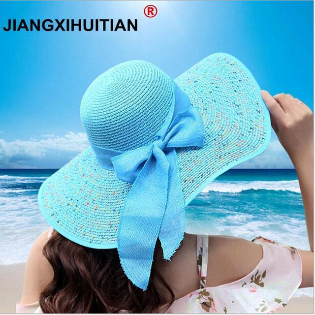 cff96bfa jiangxihuitian 2018 Summer Women's beach hats Caps Foldable Chiffon Floppy  Sun Hats Casual Ladies sombreros bowknot