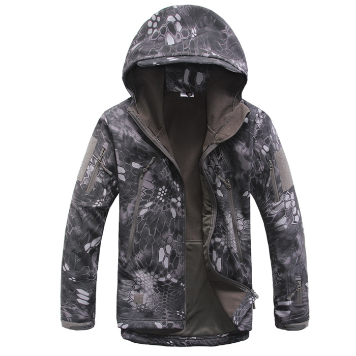 Shark skin soft shell python pattern camouflage windbreaker jacket 4 color lurker shark skin soft shell v4 military tactical jacket men waterproof windproof warm coat camouflage hooded camo army clothing