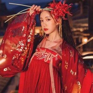 Image 2 - Hanfu elbise çin tarzı kadın/kadınlar kırmızı zarif Hanfu çin antik ve geleneksel giysiler halk dans kostümleri DQL350