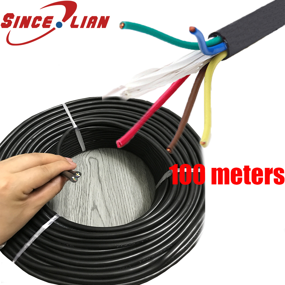 DHL 100 Meters Power Cable 6 core Wire Monitor Power Cord Round RVV6X0.3/0.5 Square Soft Sheathed Electrical Cable