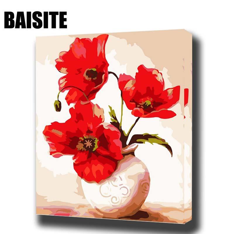 BAISITE Incorniciato Pittura A Olio Dai Numeri FAI DA TE Fiori Quadri Su Tela Dipinto Per Soggiorno Wall Art Home Decor H504