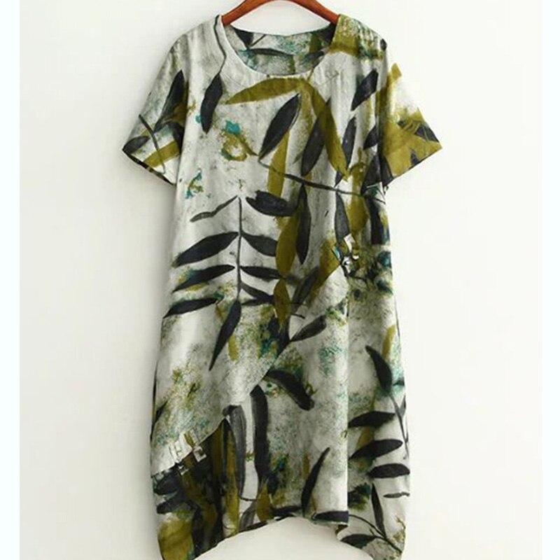 Short Sleeve Cotton Linen Dress Vintage Bamboo Print Buttons Women Casual Loose Tunic Summer Dress 2019 Vestidos de Festa