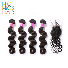 WoWigs Hair Indian Hair Remy Hair Loose Wave 4 / 3 Bundles Deal With Top Lace Closure  Natural Color 1B все цены