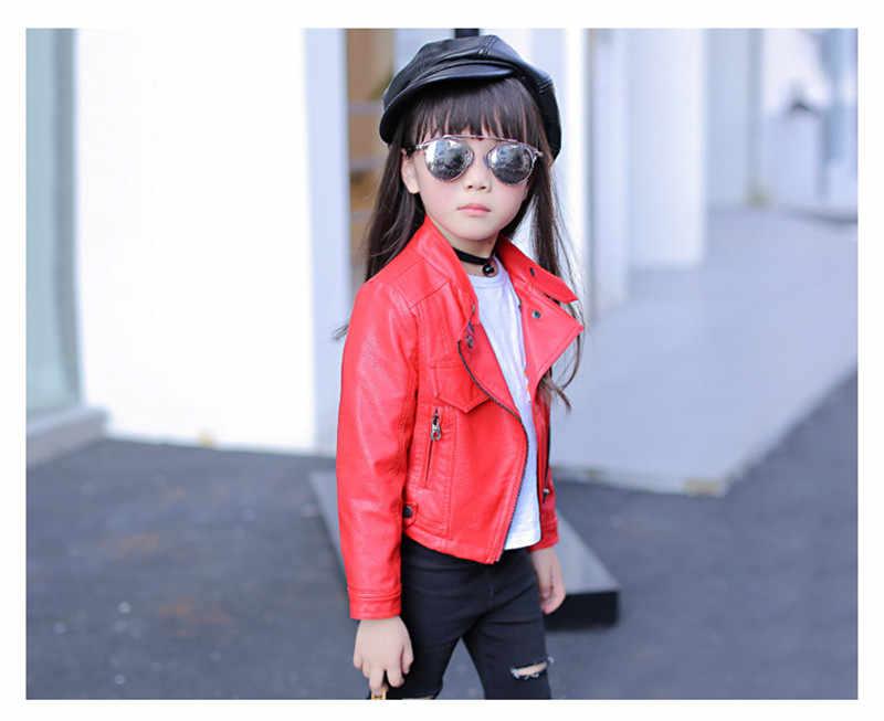 מעילי מעילי עור בנות סתיו ילדי הלבשה עליונה מוצקים סתיו מעילי תינוק בגיל ההתבגרות בגדי רוכסן 4-12 Y AA2620