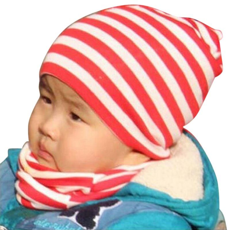 Cute Baby Cap Scarf Kids Girls Boys Cotton Knit Beanie Stripe Soild Toddler Hats Winter Spring 2 Pcs Set
