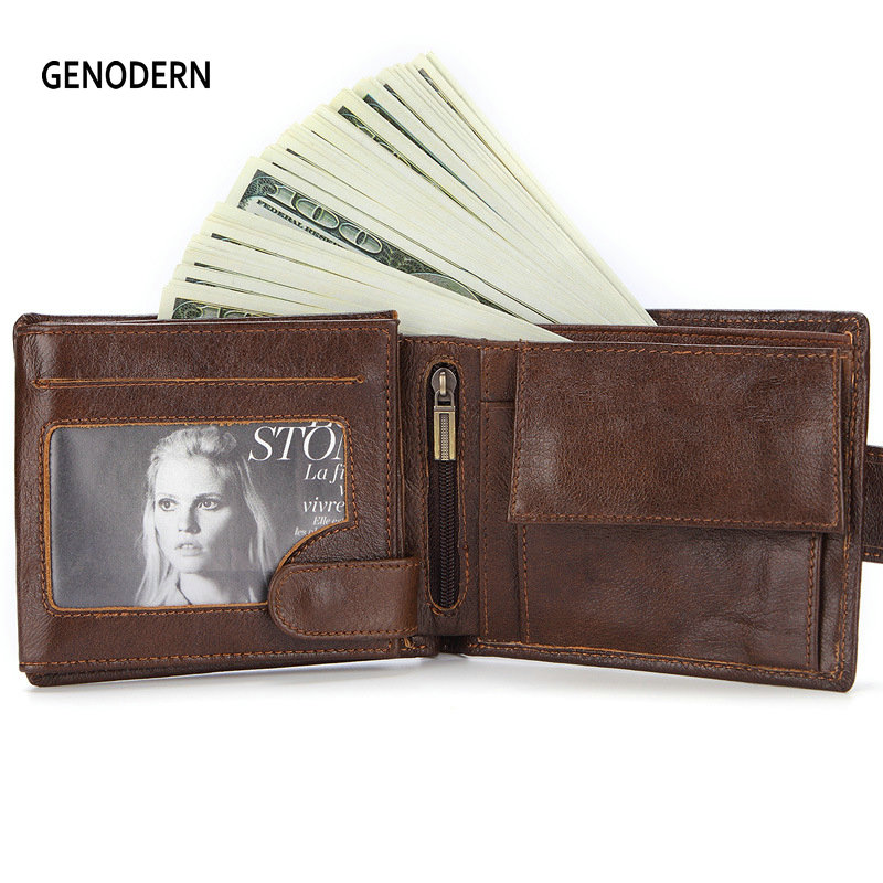 GENODERN New Wallet with Buckle for Men Genuine Leather Men Wallets Brown Male Purse Card Holder