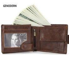 GENODERN New Wallet with Buckle for Men Genuine Leather Men Wallets Brown Male Purse Card Holder
