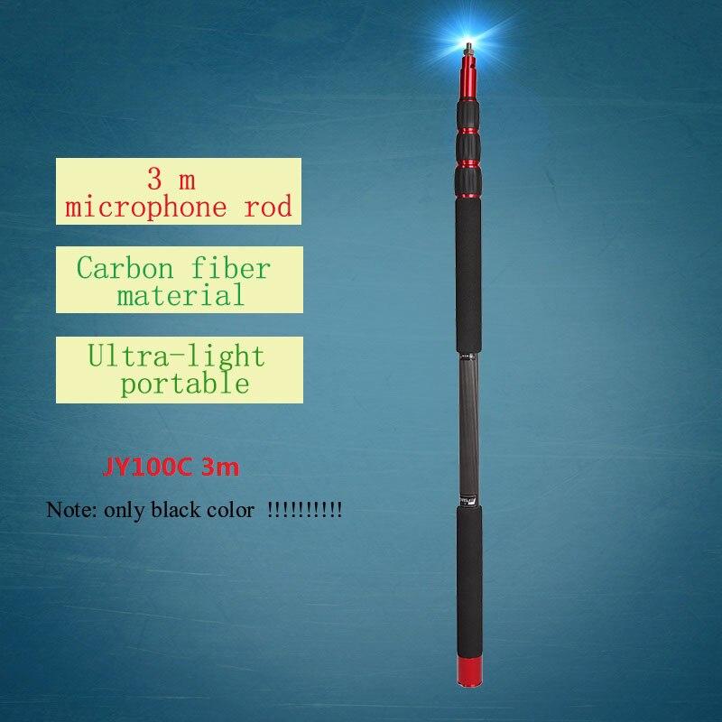 Jieyang JY100C fibra de carbono profissional microfone microfone Boom balde haste haste de suspensão 3 m Tubo pode usar linha de 3.5 milímetros