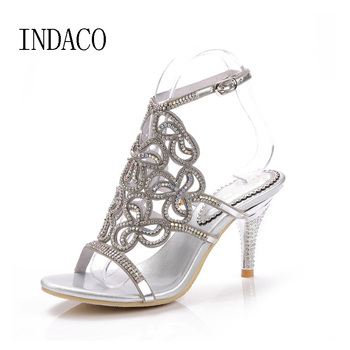 Silver High Heel Rhinestone Shoes Sexy Women Wedding Shoes Genuine Leather Hollow Flowers Sandals Zapatos Mujer 34-44 INDACO