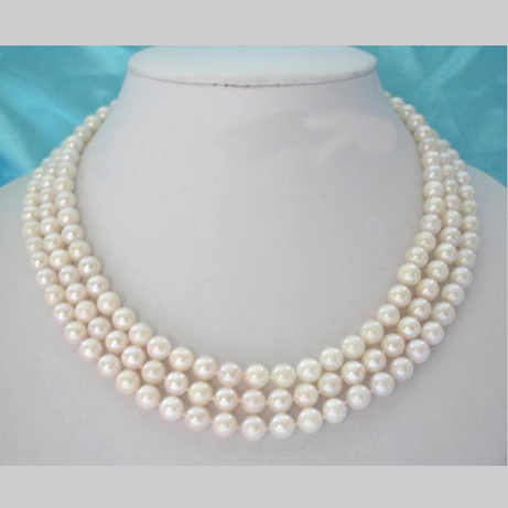 Stunning Real Pearl Jewellery, 3 Rows AA 7-8MM Pink Color Perfect Round Freshwater Pearls Necklace,New Free Shipping.Stunning Real Pearl Jewellery, 3 Rows AA 7-8MM Pink Color Perfect Round Freshwater Pearls Necklace,New Free Shipping.