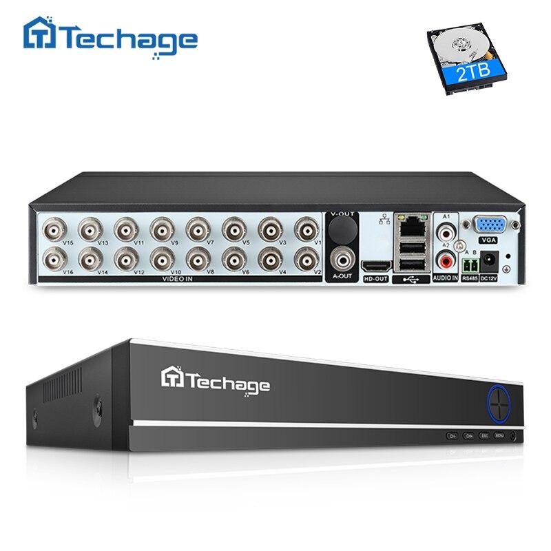 Techage H 264 16CH 1080N AHD CCTV DVR NVR P2P Cloud Security Digital Video Recorder for