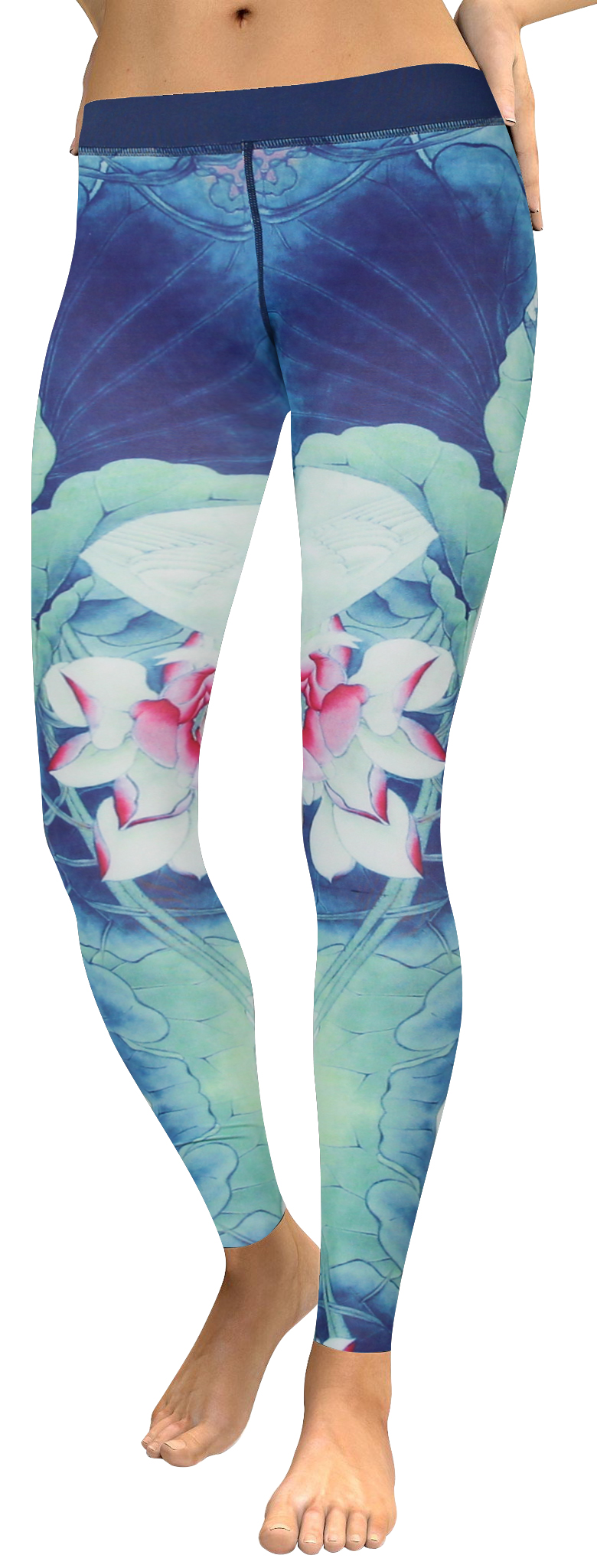 High waistband Blue lotus leave legging (1)
