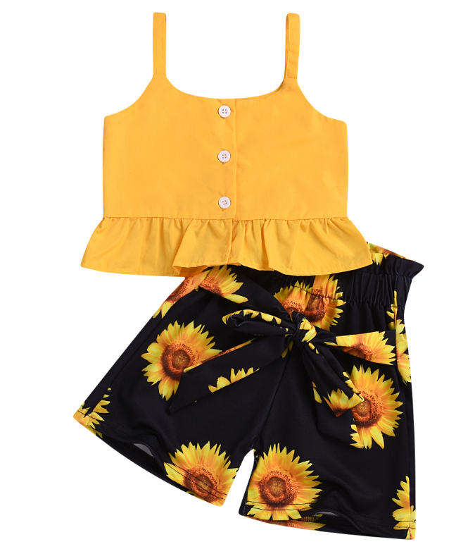 2pcs Newborn Baby Kids Girl Sunflower Top Sundress+Bottoms Outfit Set Clothes
