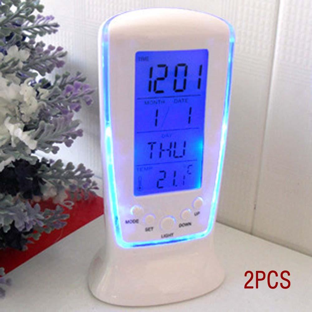 2pcs New Arrival LED Digital Home Alarm Clock Multi Functional Clock LED Calendar Thermometer Display Clock with Backlight