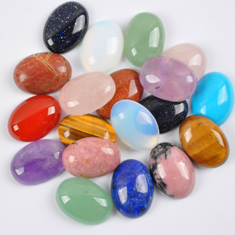 30x22MM Natural Mixed Stone GEM Bead Oval CAB Cabochon Jewelry (10 pcs/lot) H002