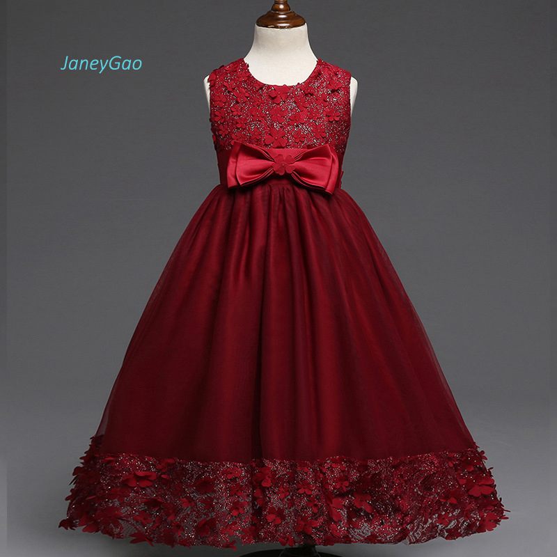 JaneyGao   Flower     Girl     Dresses   Wine Red With Appliques Elegant Fashion Princess Little   Girl   Pageant Party   Dresses   Formal Kids Gown