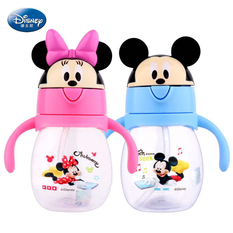 Disney Sippy Cup 270ML Cartoon Mickey Mouse  Feeding Cups With Handle Flip Lid  Leak-proof Minnie Mouse Winnie Water Bottle