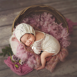 Baby Photography Accessories Natural Thick Rattan Basket Newborn Props Boy Hand-Woven Bird Nest Photo Posing Props Photoshoot