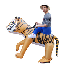 New Adult Cosplay Tiger Inflatable Suit Cartoon Animal Performance Costume Halloween Man Woman Holiday Party недорого